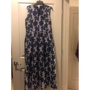 Long elegant navy and cream floral dress